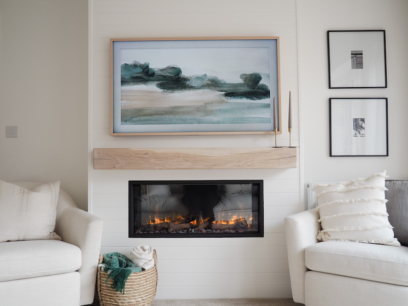 Electric fire TV wall and Samsung Frame TV