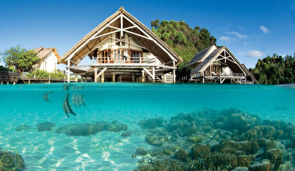 Overwater villa at Misool Eco Resort Raja Ampat. Image source.