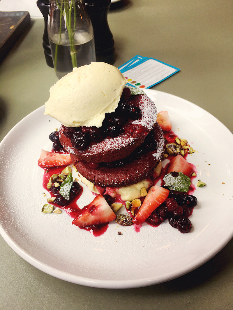 red velvet hotcakes from Mini Bar Melbourne